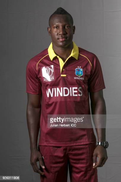 Rovman Powell of The West Indies poses for a picture during the West Indies Portrait Session for the ICC Cricket World Cup Qualifier at Meikles Hotel...