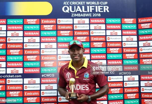 Rovman Powell of The West Indies with The Man of The Match trophy after The ICC Cricket World Cup Qualifier between The West Indies and Ireland at...