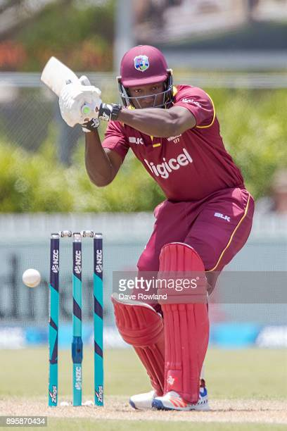Rovman Powell of West Indies bats during the first match in the One Day International series between New Zealand and the West Indies at Cobham Oval...