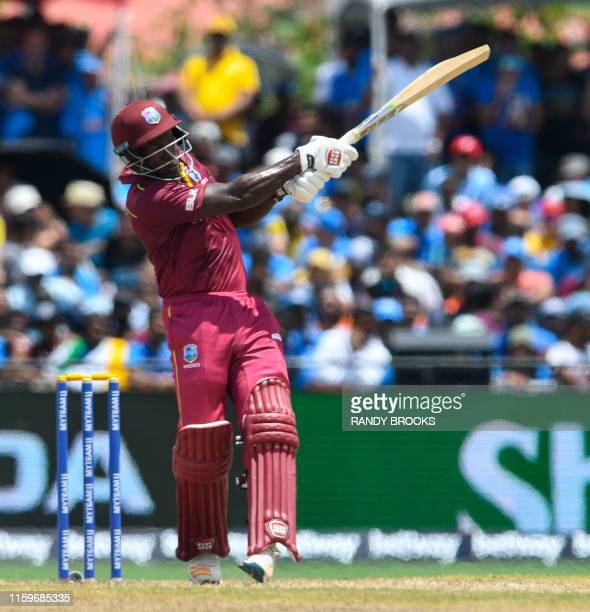Rovman Powell of West Indies hits 4 during the 2nd T20i match between West Indies and India at Central Broward Regional Park Stadium in Lauderhill,...