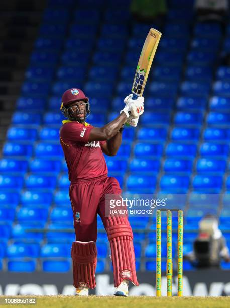 Rovman Powell of West Indies hits 6 during the 3rd and final ODI match between West Indies and Bangladesh at Warner Park Basseterre St Kitts on July...