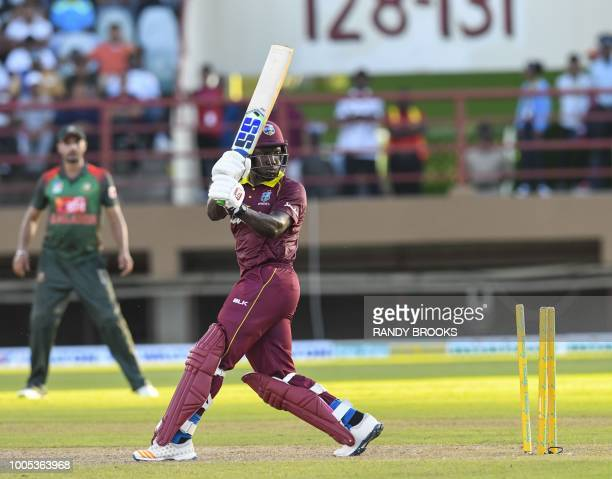 Rovman Powell of West Indies is bowled by Rubel Hossain of Bangladesh during the 2nd ODI match between West Indies and Bangladesh at Guyana National...