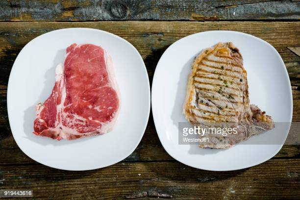 Row and roasted beefsteak on plate