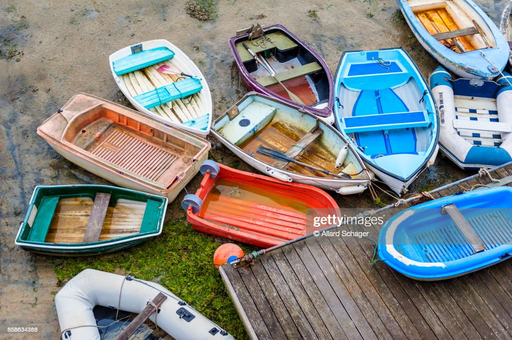 Row Boats at Low Tide in Harbour of Saint Aubin Jersey : Stock-Foto