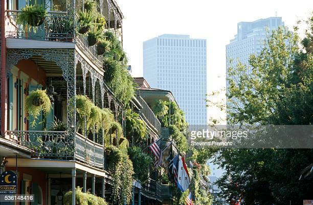 row homes along the royal street in the french quarter - new orleans stock pictures, royalty-free photos & images