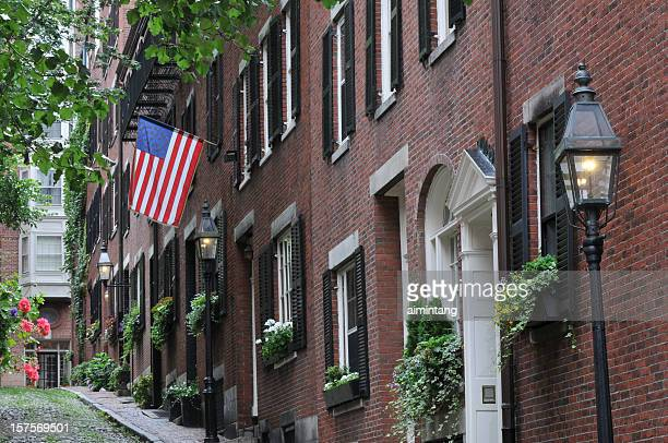 row homes - acorn street boston stock pictures, royalty-free photos & images