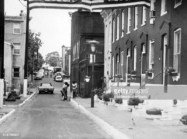 Row houses during the Afro American Newspapers Clean Block urban beautification campaign Baltimore Maryland 1955