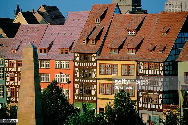row houses in a city, erfurt, germany - erfurt stock pictures, royalty-free photos & images