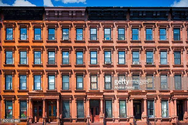 row houses in harlem, new york, 2010 - harlem stock pictures, royalty-free photos & images