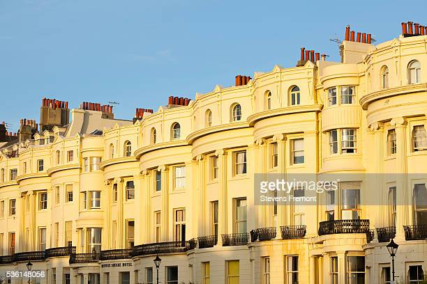 row houses on king's road in brighton - regency style stock photos and pictures
