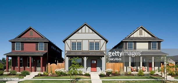 row houses - three objects stock pictures, royalty-free photos & images