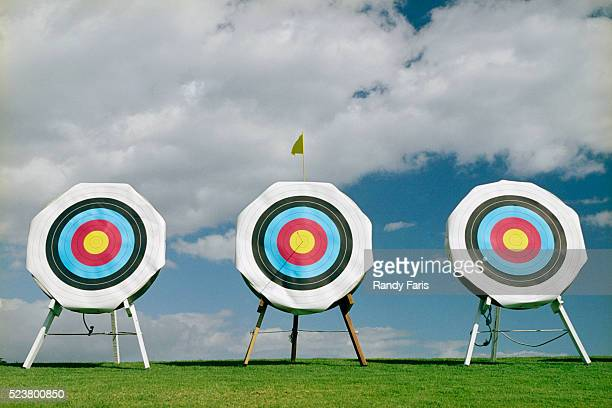 row of archery targets - sports target stock pictures, royalty-free photos & images