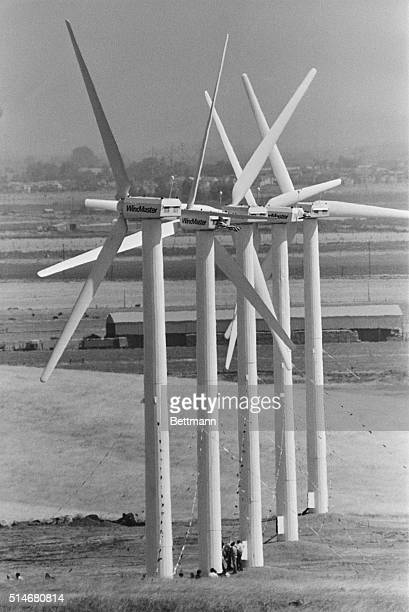 A row of Belgianmade wind turbines installed by Windmaster Inc produce electricity to be sold to a utility Altamont Pass near Byron California