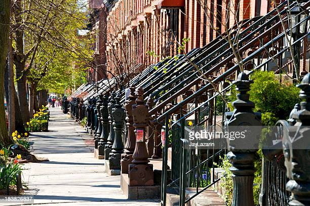 Row of brick homes in Park Slope of Brooklyn, New York City