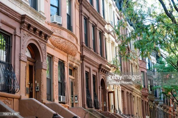 Row of brownstones in city