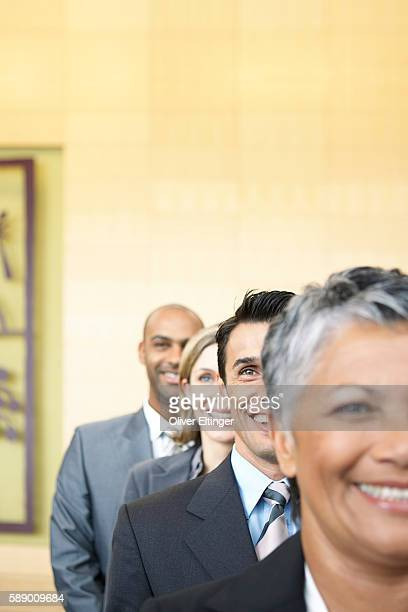 Row of businesspeople