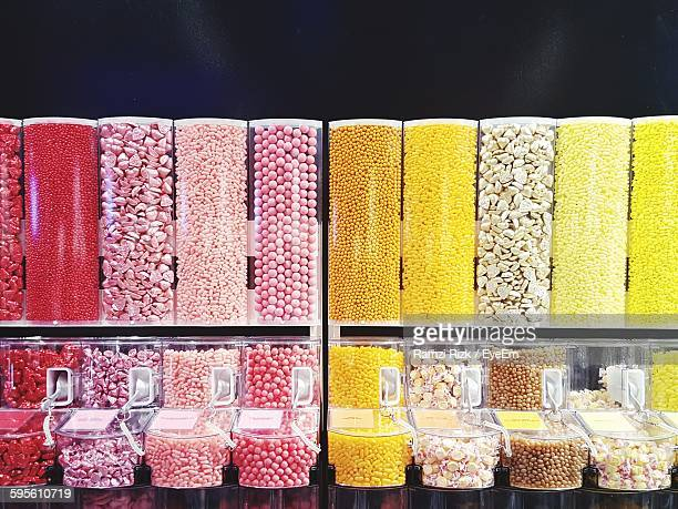 Row Of Candy Dispensers At Store
