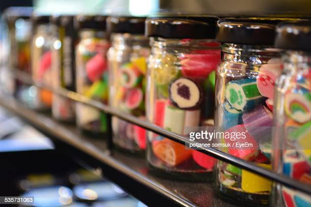 Row Of Candy Jars At Store