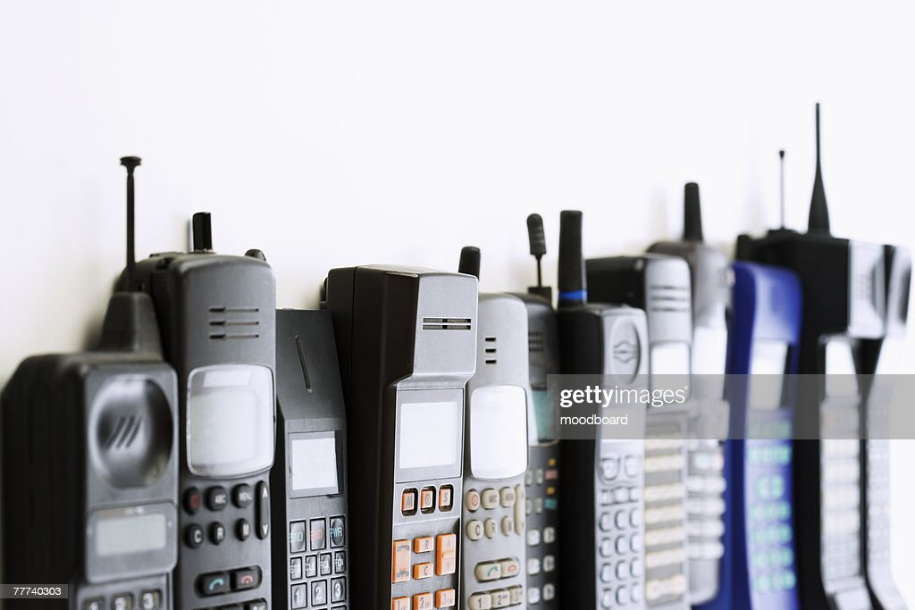 Row of Cell Phones : Stock Photo