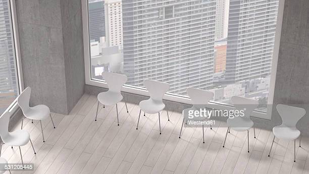 Row of chairs in a room of a modern office building, 3D Rendering