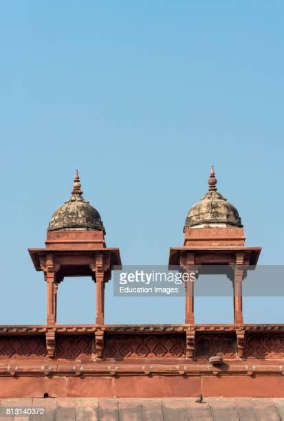 Row of Chhatri pavilions over Jama Masjid, Friday Mosque, Fatehpur Sikri, India.