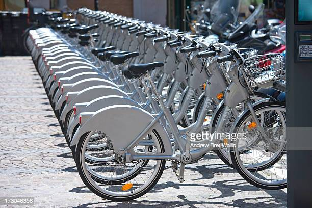 Row of city centre bike share cycles