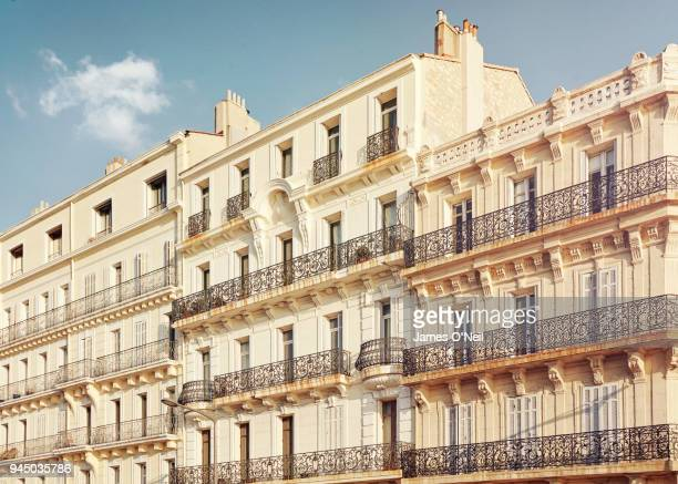 row of classic french houses, marseille, france - bouches du rhone stock pictures, royalty-free photos & images
