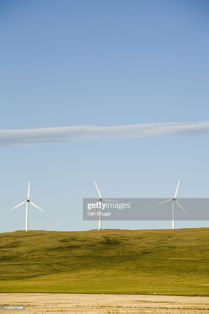 A row of clean energy wind turbines in Montana. : Stock Photo