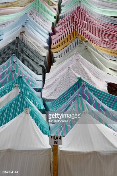 Row of colorful beach tents