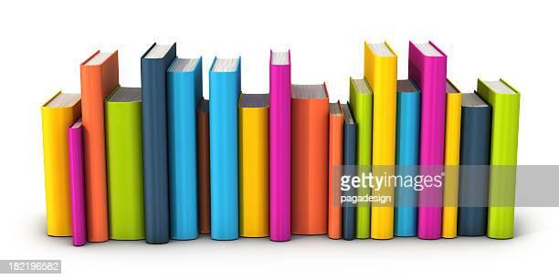 Linha de livros coloridos