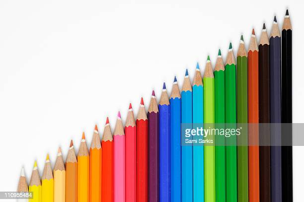 Row of colorful crayons, on white background