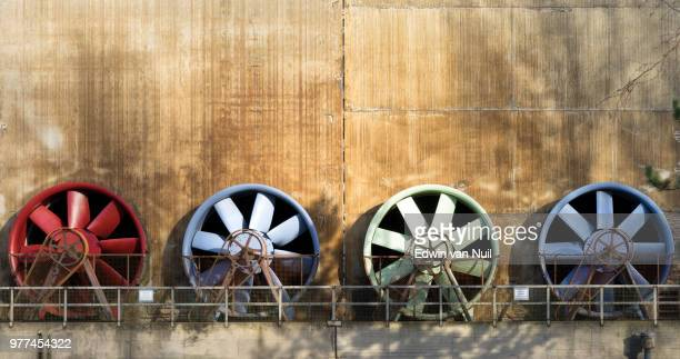 row of colorful fans, duisburg, roergebied, germany - ruhr stock pictures, royalty-free photos & images