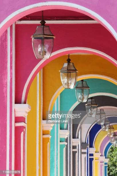row of colorful houses in george town - malaysia - colonial stock pictures, royalty-free photos & images