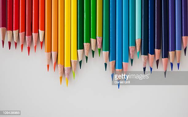 row of colorful pencils - color pencil stock pictures, royalty-free photos & images