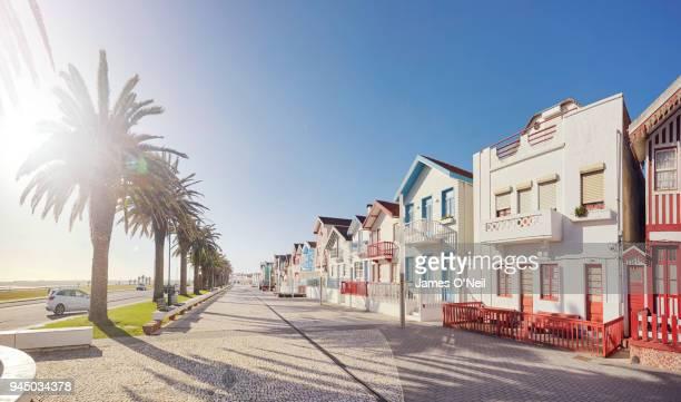 Row of colourful beach houses in Costa Nova, Portugal