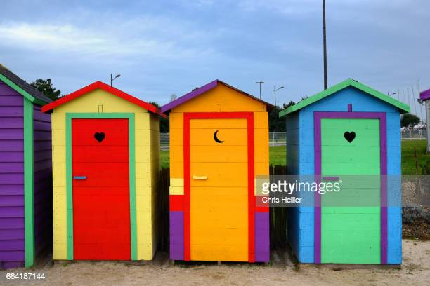Row of Colourful Beach Huts Brest Brittany