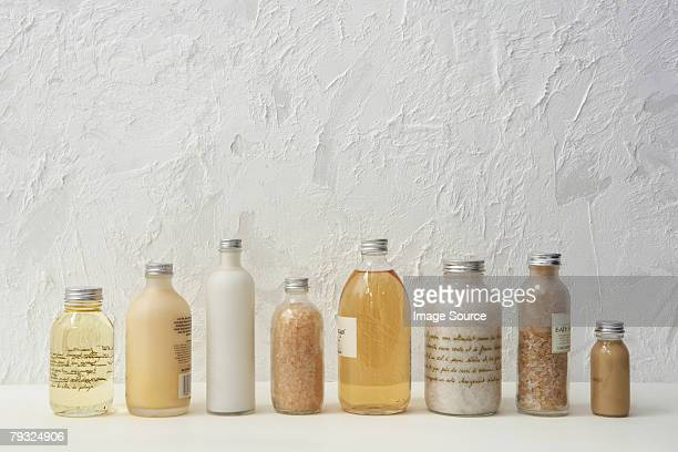 Row of cosmetics bottles