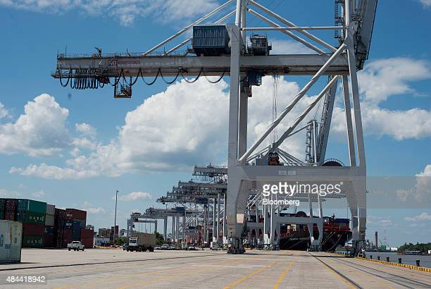 A row of cranes stand at the Port of Savannah in Savannah Georgia US on Friday Aug 14 2015 The trade deficit in the US widened in June as the strong...