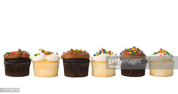 Row of Cupcake Pastry Frame Border Isolated in White Background