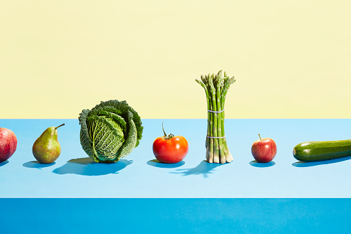 A row of different fruit and vegetables - gettyimageskorea