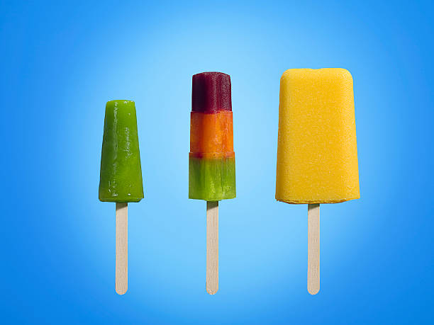 Row of different types of ice cream lollies