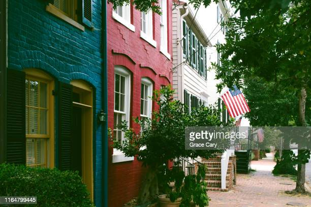 row of early 1800s townhouses - old town stock pictures, royalty-free photos & images