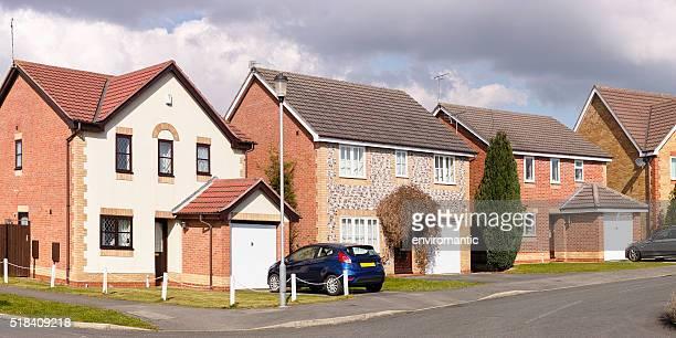 Row of English suburban houses.