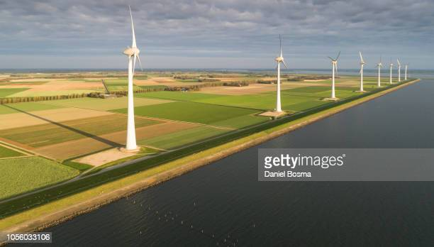A row of enormous wind turbines as seen from the IJsselmeer with in the background a polder with mainly agricultural purposes.