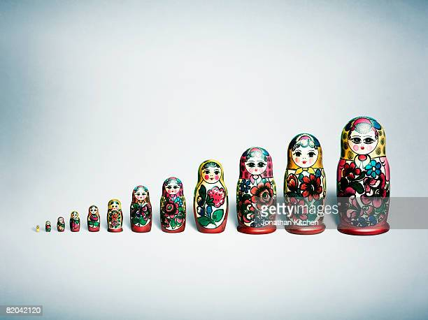 A row of evenly spaced Russian Nesting Dolls