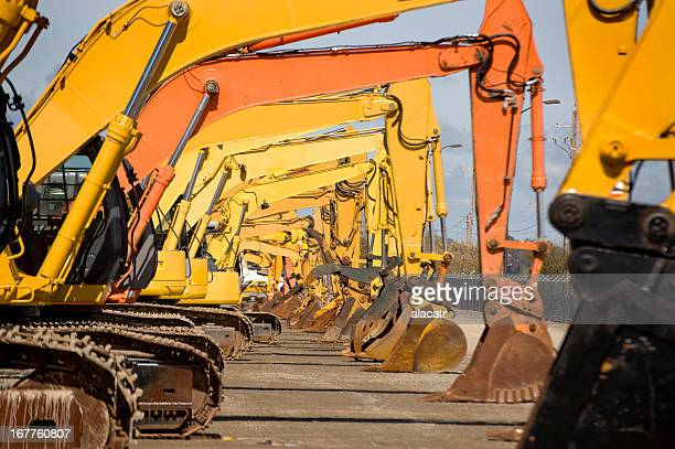Row of Excavators
