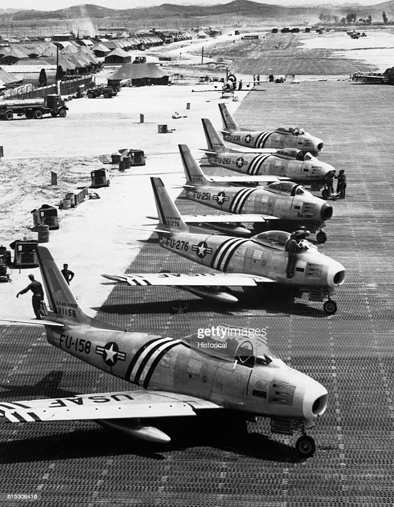 F-86 Fighters Ready for War : News Photo