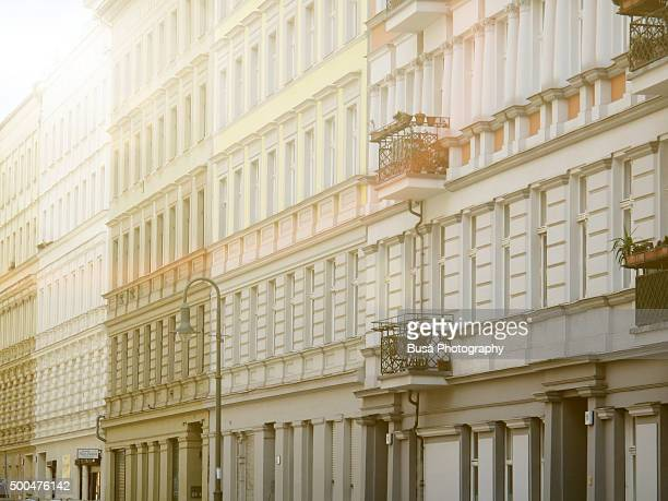 Row of facades of buildings in the East Berlin district of Prenzlauerberg, Berlin