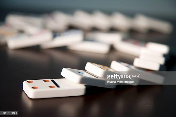 Row of fallen dominoes