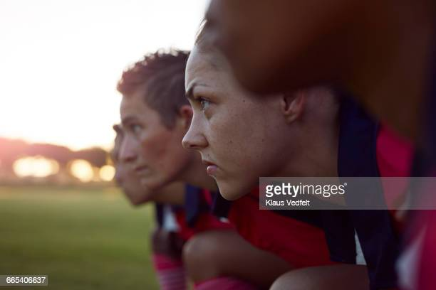 row of female rugby players - face off sports play stock photos and pictures